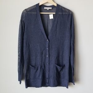 LOFT NWT Sheer Blue Cardigan Pockets Italian Yarn